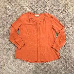 Rust Colored 100% Silk Blouse